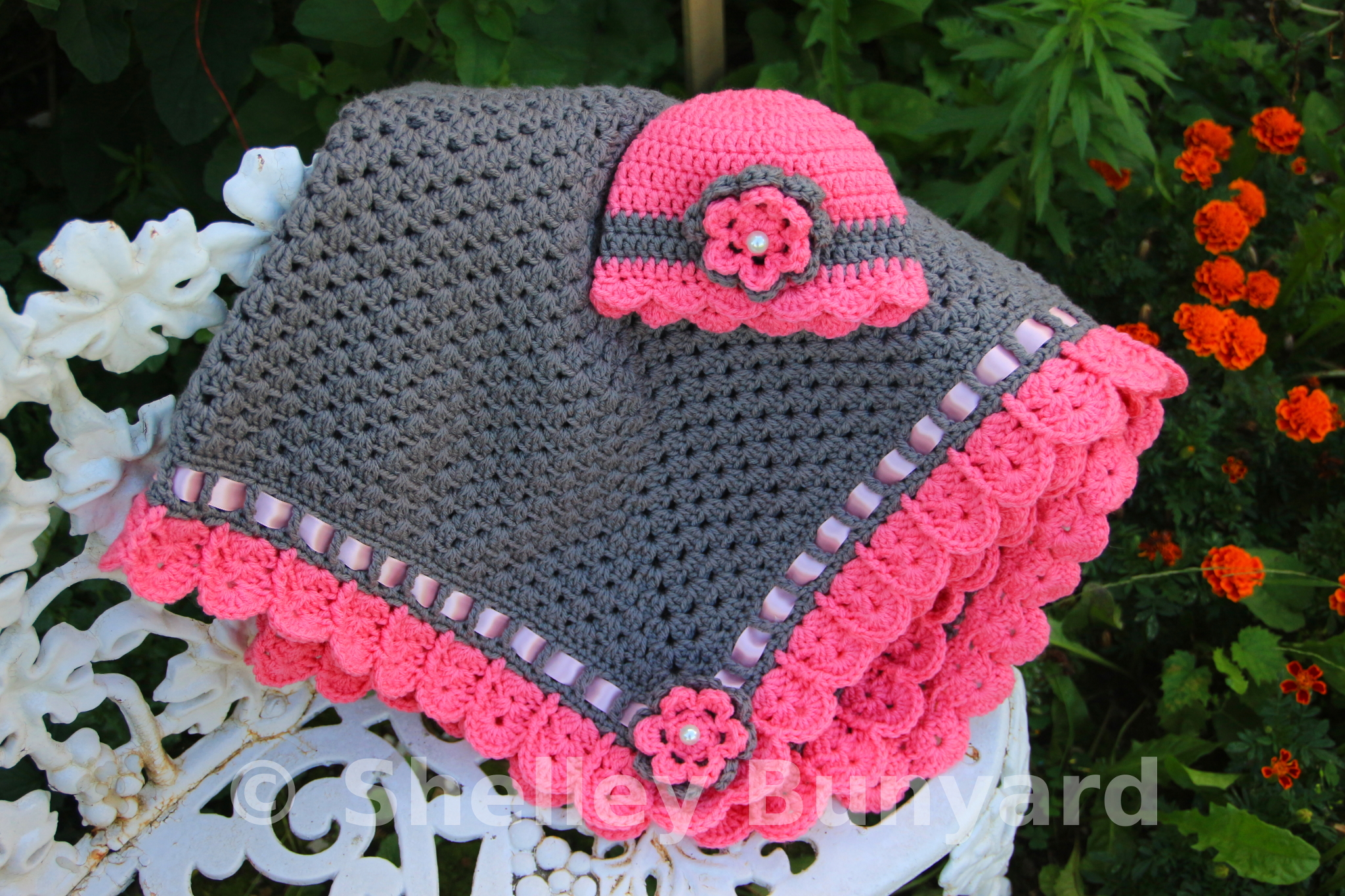 Granny Square and Ribbon Baby Blanket Set | Mad Hooker Crochet!Mad ...